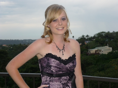Sarah Kingon poses in her Matric Dance dress at her home in East London before the Clarebdon High School Dance in April 2010.