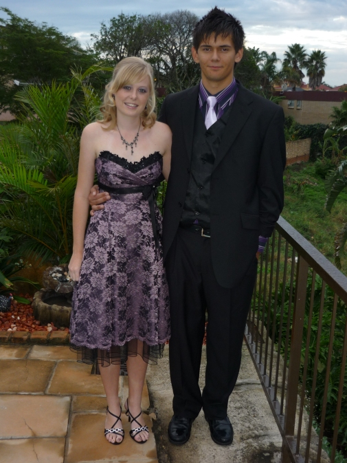 Sarah Kingon and Nico Meiring pose in their Matric Dance attire before the Clarendon High School Matric Dance in April 2010.