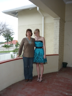 Sarah Kingon and her mother, Lynda Kingon, stand outside Nico Meiring's home before the Hoërskool Grens Matric Dance in August 2010.
